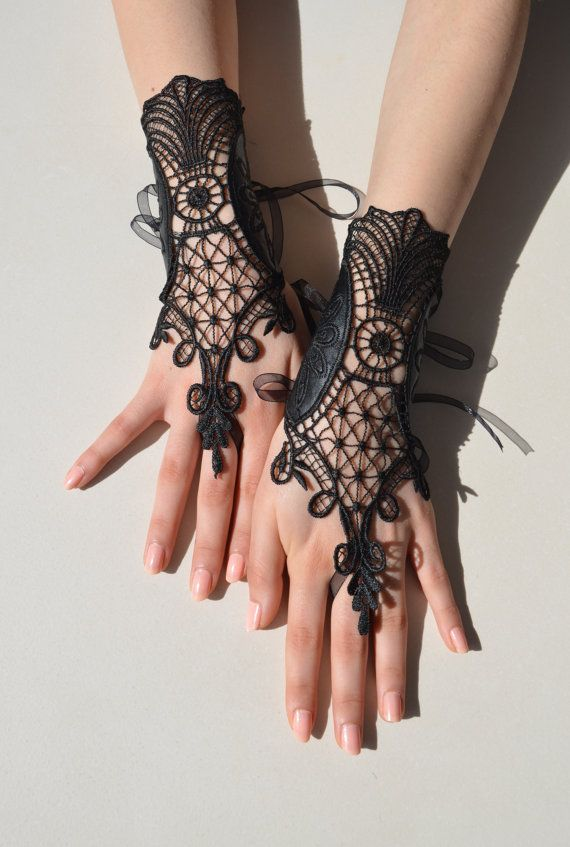Black lace leather gloves french lace leather lace by newgloves, $40.00