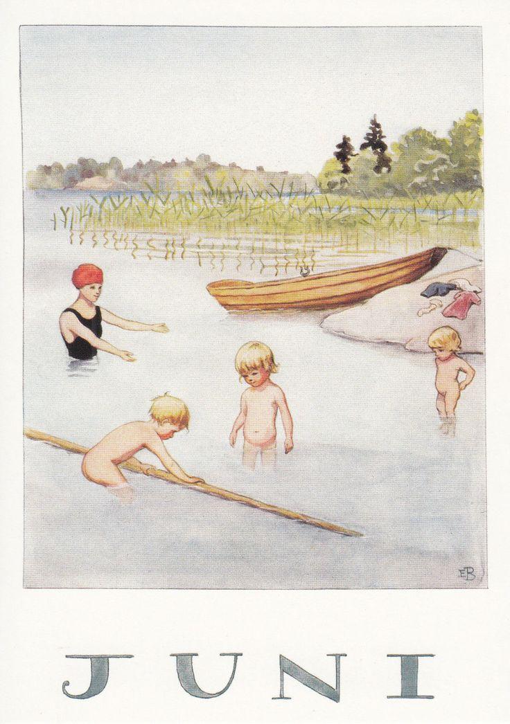 Set of 12 new single postcards by Elsa Beskow, 12 months, cute | eBay