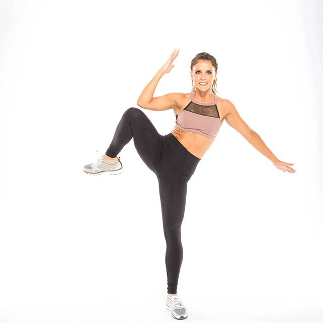 Standing single-leg side crunches target those hard-to-reach obliques and tighten your waistline.