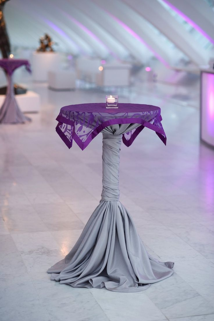 High Top Table Linens Part - 34: Hi-Boy Cocktail Table With Overlay ( I Prefer Minus The Purple Overlay)
