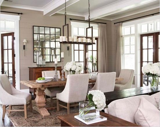 transitional dining room : dining chairs : light fixture : table : decor