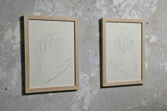 Untitled (hands) 2010 Pen on paper 18 x 23 cm each (framed) MotelSalieri, Rome Photo: Giorgio Benni