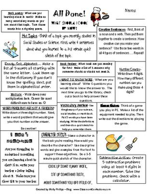 Great idea for when students are done with their work....What to do next....