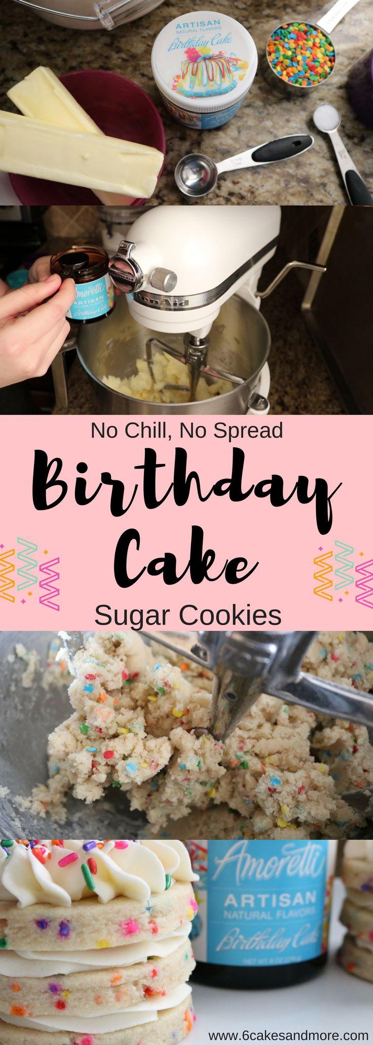 Birthday Cake Sugar Cookies using Amoretti Birthday Cake Artisan Flavor!