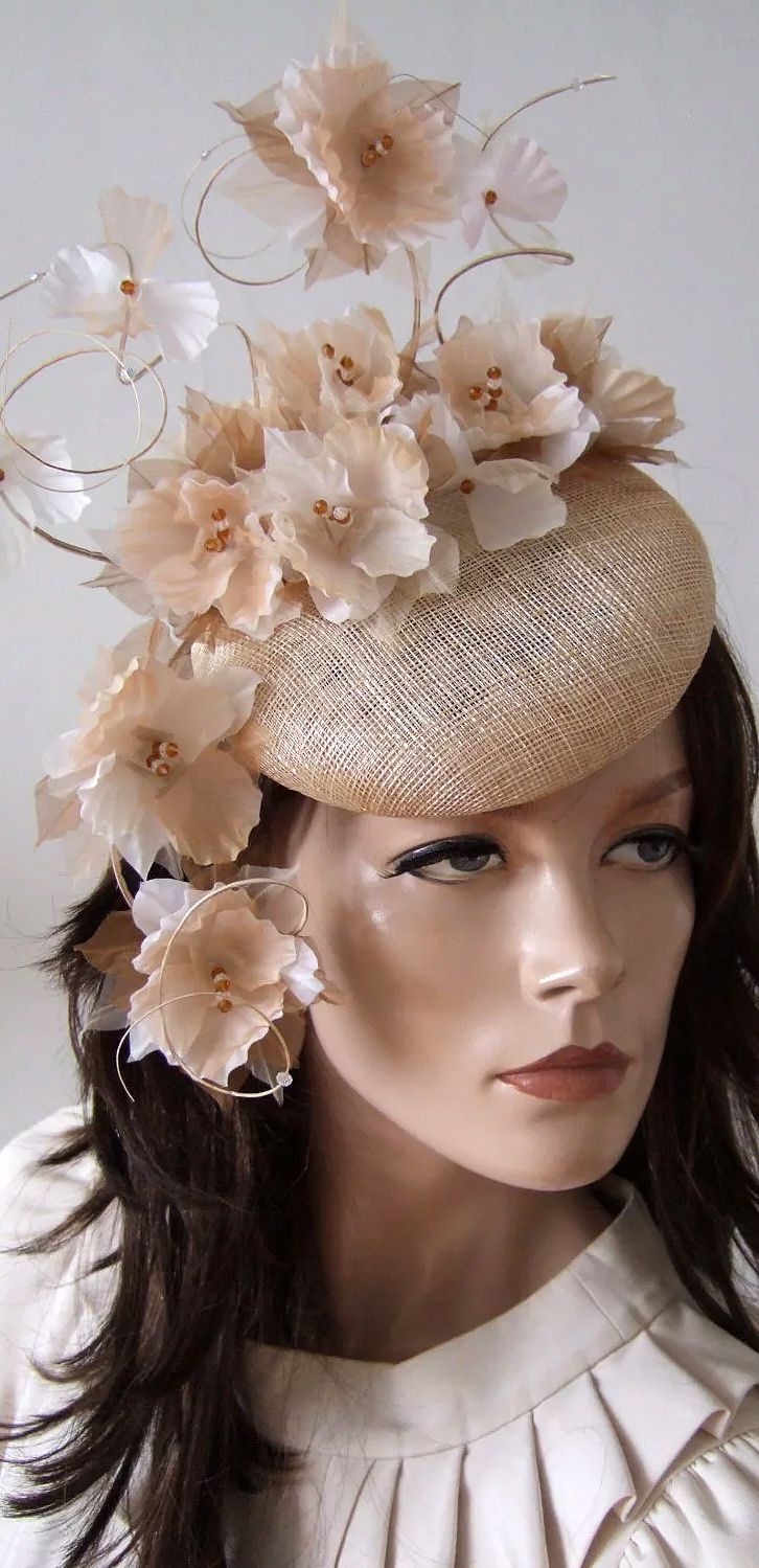278b3f0c044d3 Nude Fascinator Hat with Flowers. Beige Brown White Petals