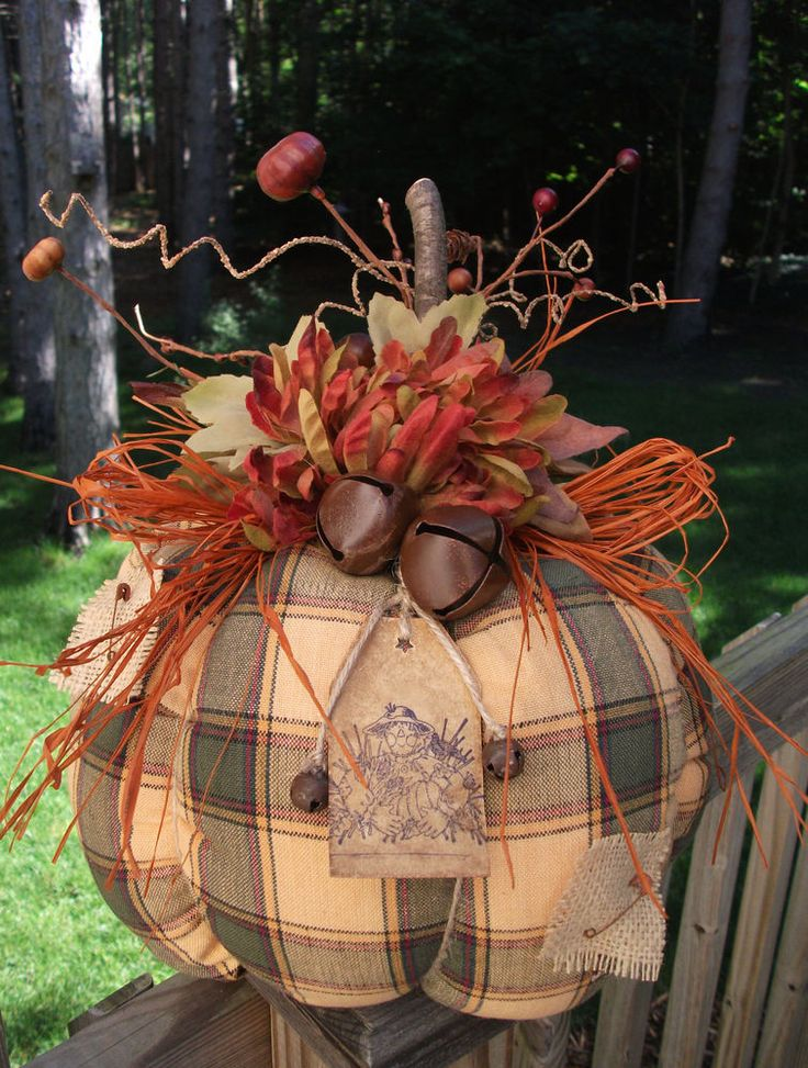 Folk Art PrimiTive Fall Autumn Halloween ScareCrow CounTry Plaid RusTic PUMPKIN