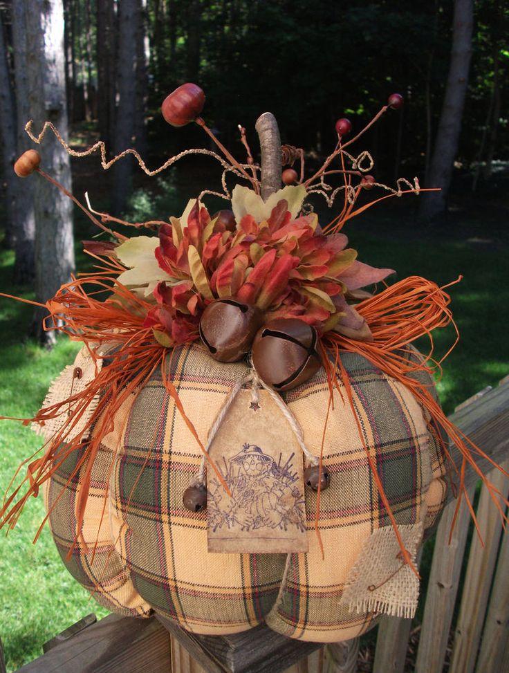 Folk Art PrimiTive Fall Autumn Halloween ScareCrow CounTry Plaid RusTic PUMPKIN