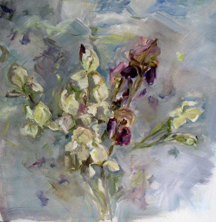 Irises.  Oil on canvas , 24 x 24 inch.  I just adore, adore irises.