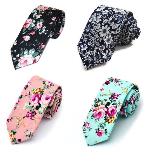 Floral Tie Necktie Skinny flower 4 Colors groom by MYTIESHOP