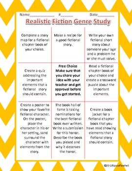 Realistic Fiction Genre TicTacToe Board Extension Activities
