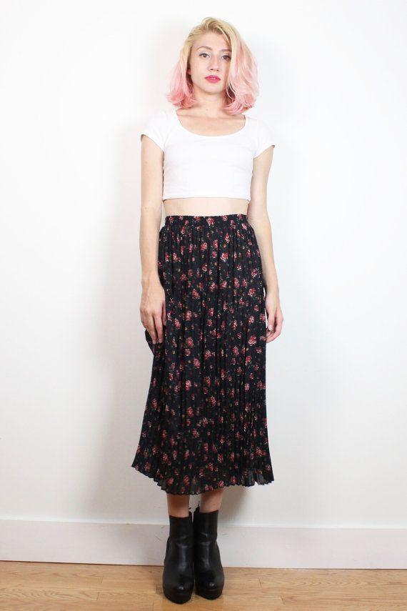 Vintage 1990s Skirt Black Pin Pleated Liberty Ditsy Floral Print Midi Skirt 90s…