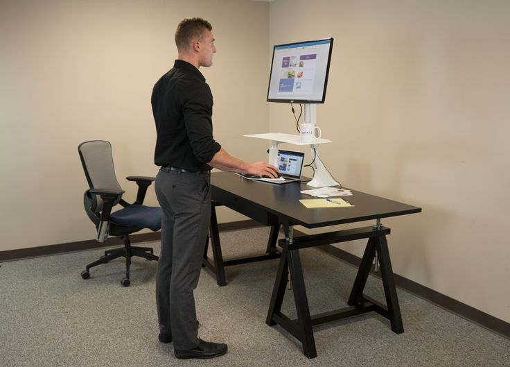 Desk : The Surprising Cadence Standing Desk Converter With Black Colors Together With Dual Monitor Plus Grey Carpet On The Office Floor Standing Desk Collections in Modern Design Small Space. Dresser. Galant.