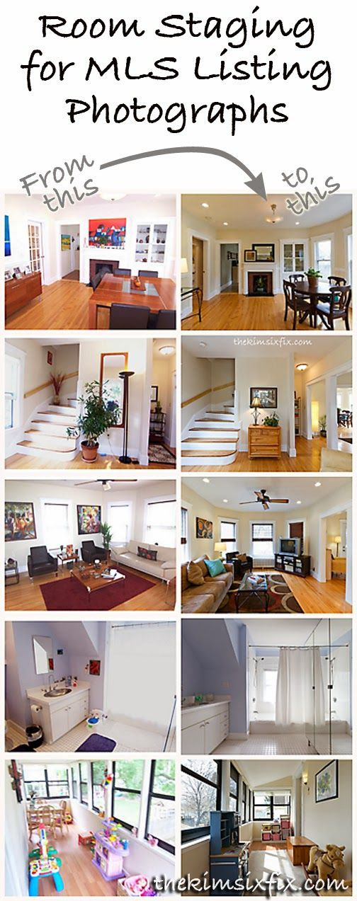 Examples of bedroom, kitchen, living and dining room staging (including actual MLS before and after photos) and how she did it.