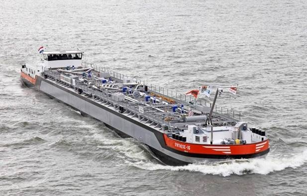 This river tanker with stainless steel cargo tanks will transport dangerous goods (chemical liquids under regulations ADN) on European inland waterways. http://www.damen.nl/news/deliveries/2011/08/inland-tanker-synthese-16
