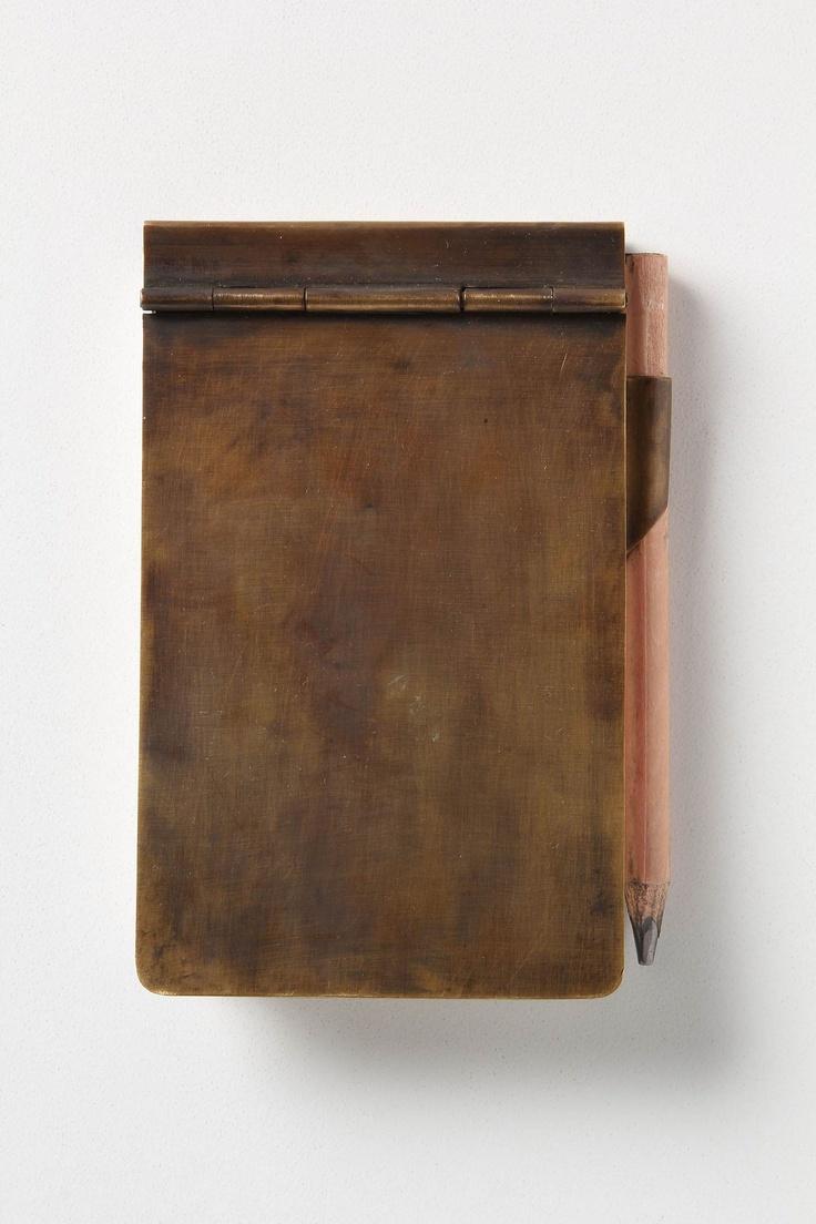 Brass notebook.