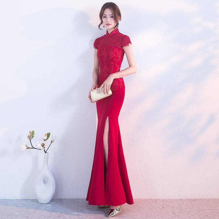 Cheap chinese traditional wedding dress, Buy Quality modern cheongsam directly from China cheongsam fashion Suppliers: Fashion Bride Red Mermaid Modern Cheongsam Sexy Long Evening Gown Vestido Oriental Chinese Traditional Wedding Dress Qipao Woman