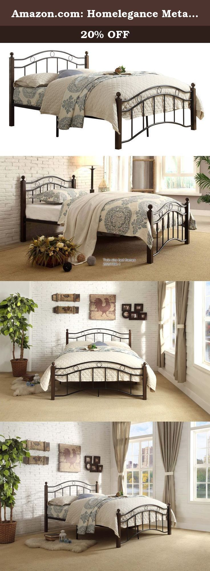 Amazon.com: Homelegance Metal Platform Bed. Avery Collection transitional style full size metal bed in black frame and chocolate brown pole 2-tone finish, Platform bed and slat kit included, no box-spring/foundation is required, Great additional to kid/guest room with limited space.