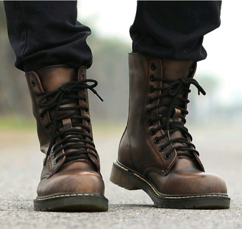 Retro-Punk-Mens-Combat-Military-Rock-Motorcycle-Ankle-Boots-Lace-Up-Oxford-Shoes
