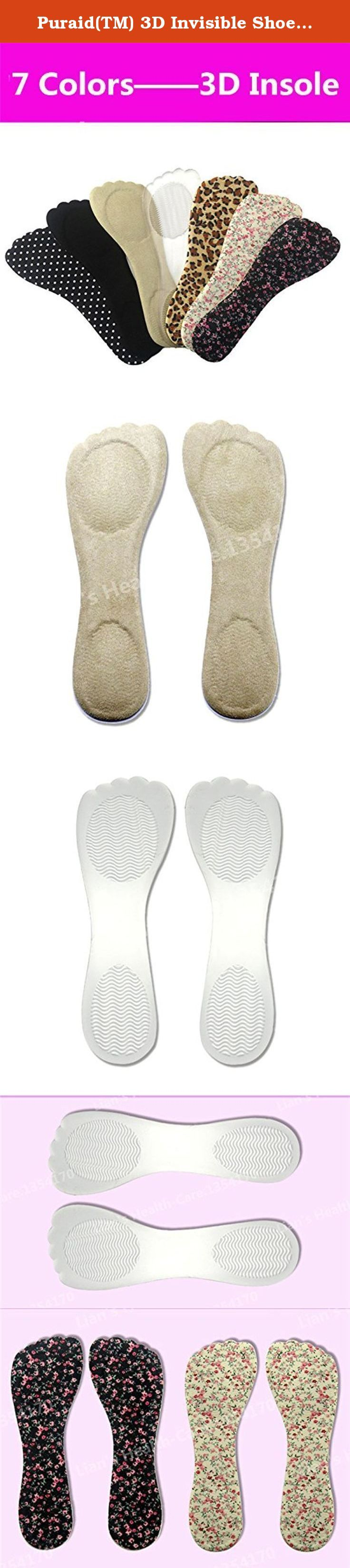 Puraid(TM) 3D Invisible Shoe Insoles for Women Size(34-38) Heel Cushion Pain Relief protetor de calcanhar palmilha salto alto Comfort Pads. Item Type:Insoles Shoe Width:Medium(B,M) Pattern Type:Solid Feature:Anti-Slippery,Hard-Wearing,Shock-Absorbant,Arch Support Material:PU Size:Free(Eur 34-38) Pls leave a message to tell us the Color.Number(following picture) u want,or will send u random color.