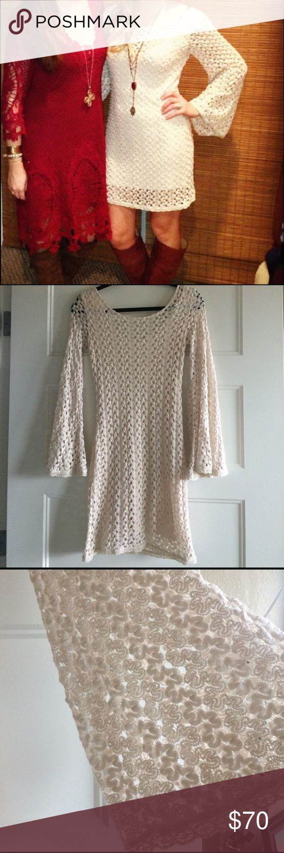 Free people crochet dress Free people crochet cream dress.  This dress is adorable and so fun to wear.  Great for concerts, a night out or dinner on the town.  Lightly worn and in great condition. Free People Dresses