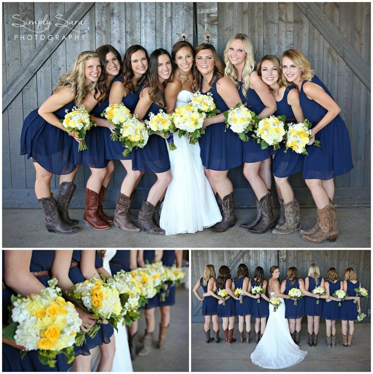 Rustic Wedding Photo Ideas & Poses for the Bridal Party - Bride with Bridesmaids - Navy Blue & Yellow Colors - Billings, MT Wedding Photographer