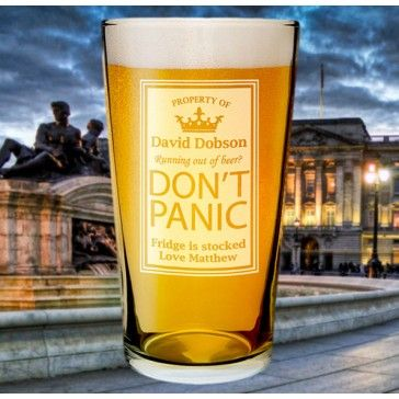 don't panic beer glass, personalised with names and messages