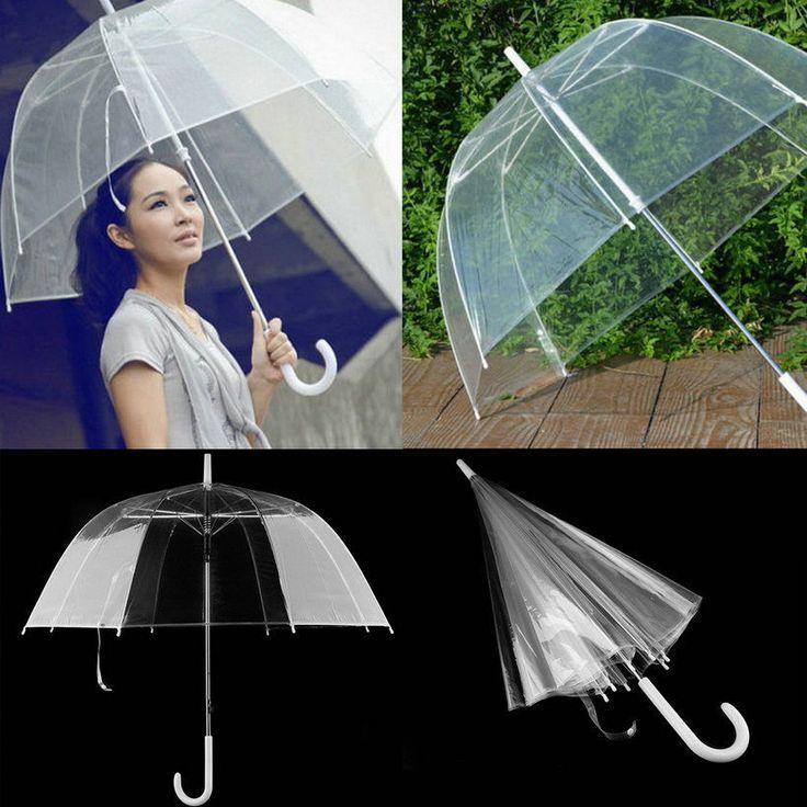 Top Transparent Clear Automatic Umbrella Parasol For Wedding Party Favor Qt