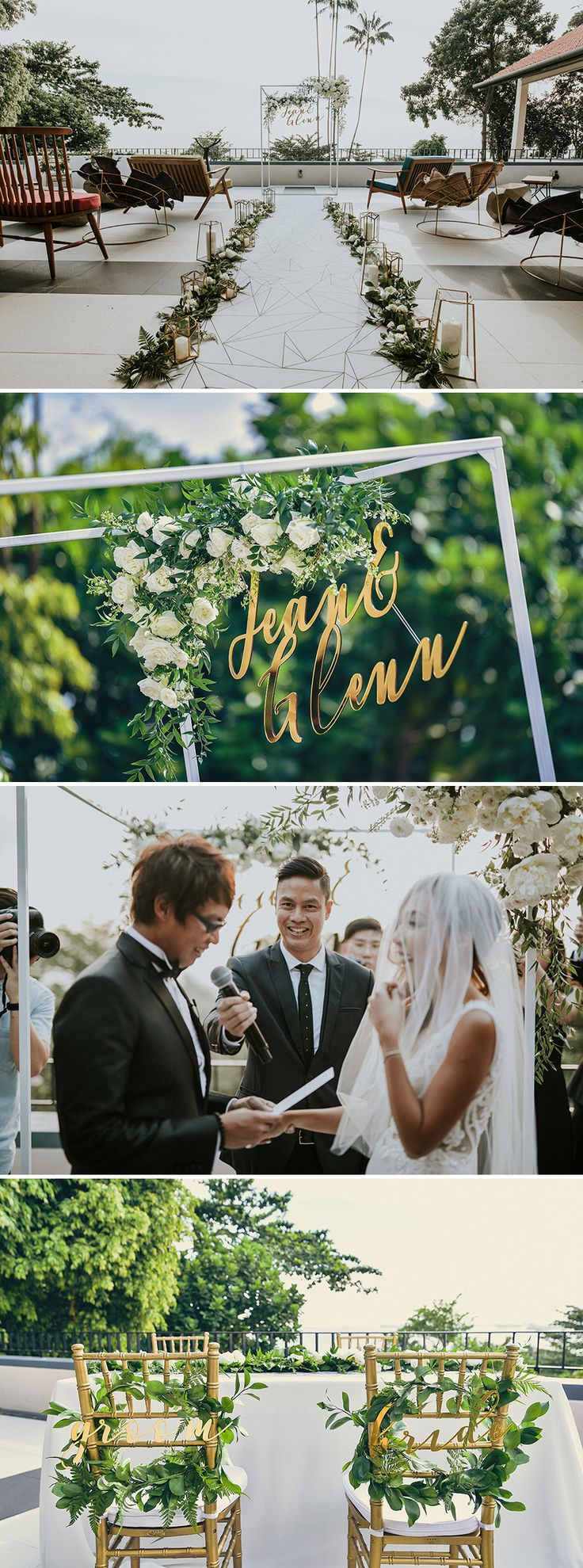 Gorgeous gold calligraphy from The Workroom to go with greenery and white rose decor for the perfect place to say your wedding vows // Familiar voices on Singapore's radio waves, DJs Glenn Ong and Jean Danker, recently said their vows in a cliff top ceremony overlooking the South China Sea at Sofitel Singapore Sentosa Resort & Spa.