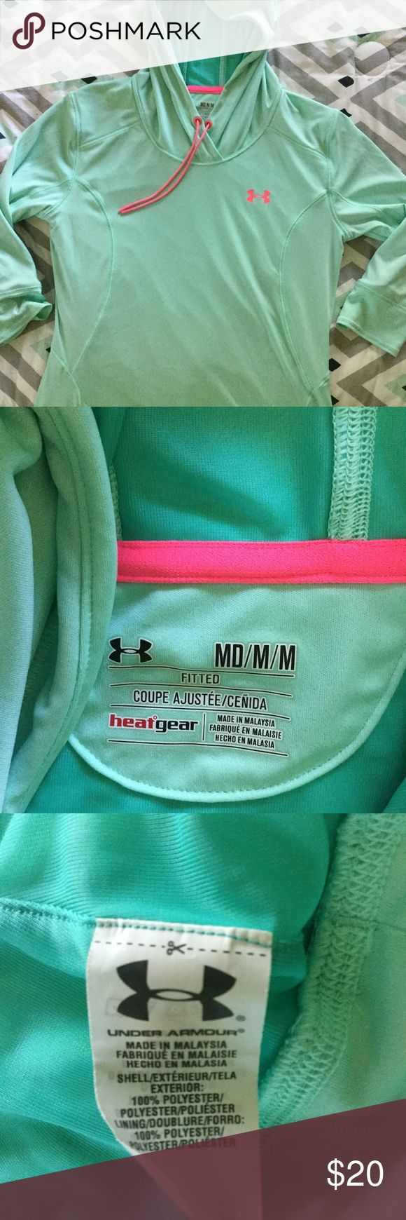 Under Armour Medium Mint Lightweight Hoodie! Fitted Medium lightweight hoodie with 3/4 sleeves! Worn a couple times in great condition. Amazing Mint green color with bright pink accents! 100% polyester. Bonus it has a HOOD! Great for cool days! Look cute while you sweat! :) Under Armour Tops Sweatshirts & Hoodies