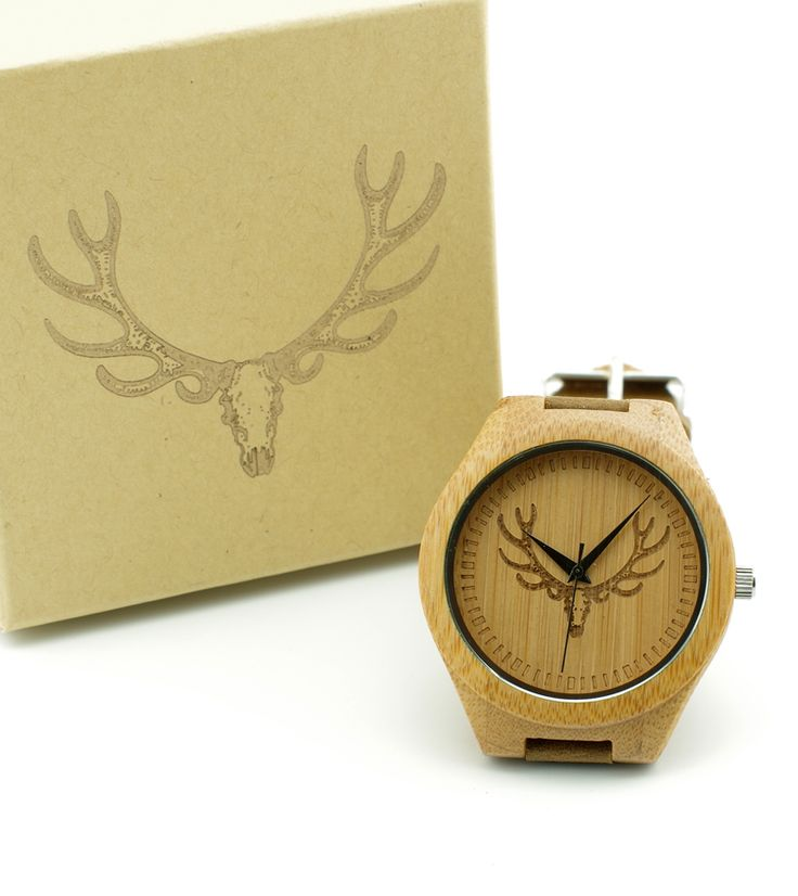 Мужчины Моды Роскошь часы с Головы Оленя, японский miyota 2035 движение наручные часы натуральная кожа мужчины бамбук деревянные часы