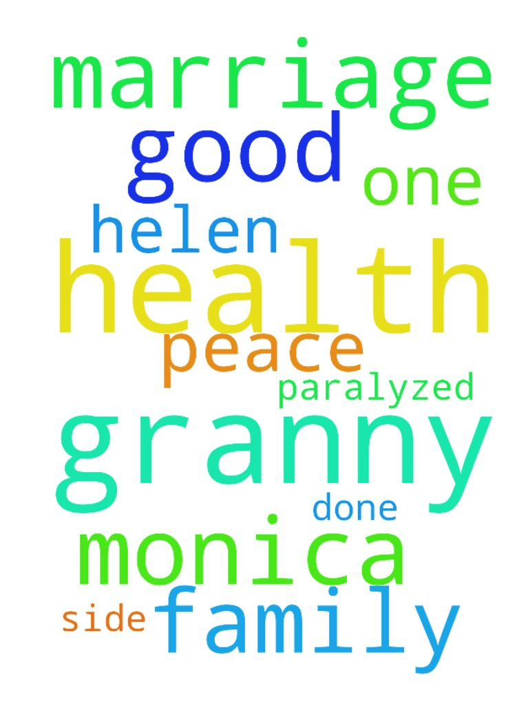 Pray for my Granny health she is - Pray for my Granny health she is paralyzed from one side. Helen And for a good marriage to be done for Monica and peace in the family.  Posted at: https://prayerrequest.com/t/EyR #pray #prayer #request #prayerrequest