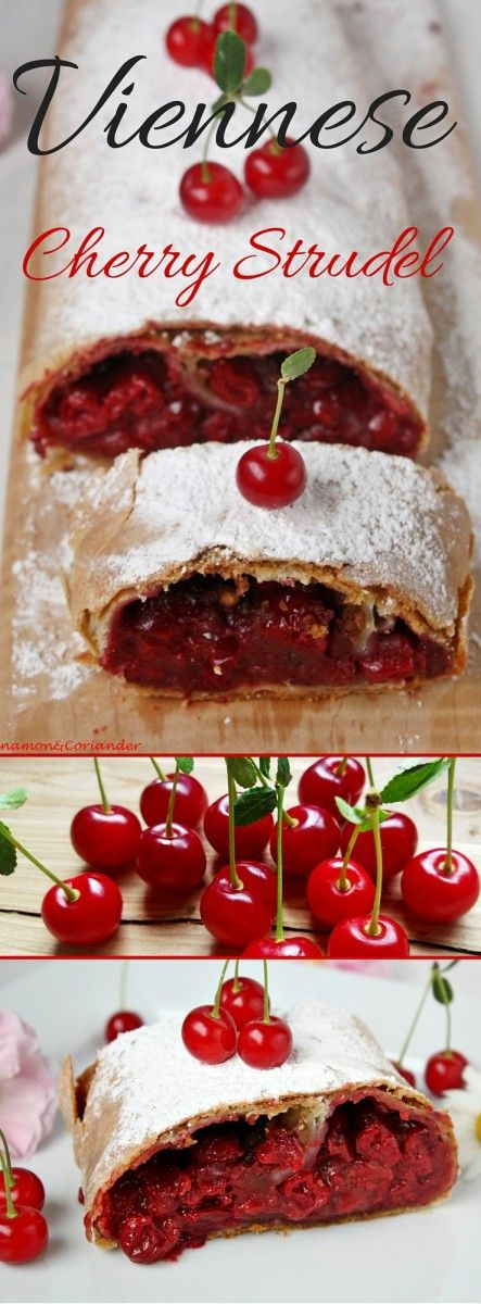 Viennese Sour Cherry Strudel - This authentic recipe for Viennese Cherry Strudel is a keeper! A tart cherry filling in a crisp & flaky pastry case ! To get the perfect flaky strudel, the dough needs to be streched until paperthin! Cinnamon&Coriander
