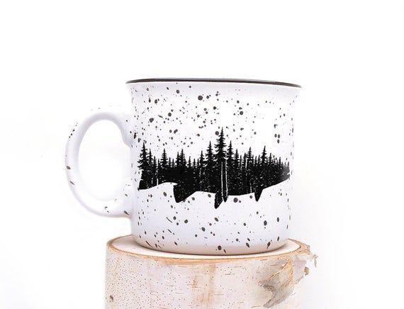 Fish And Forest Ceramic Mug Speckled Coffee Mug One Etsy