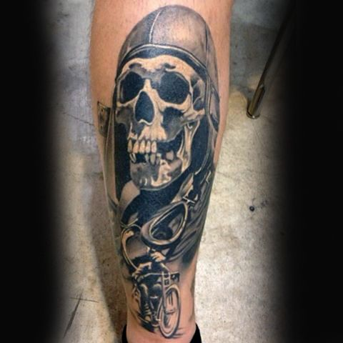 skull mens leg biker tattoo idea inspiration tattoos refer ncias pinterest. Black Bedroom Furniture Sets. Home Design Ideas