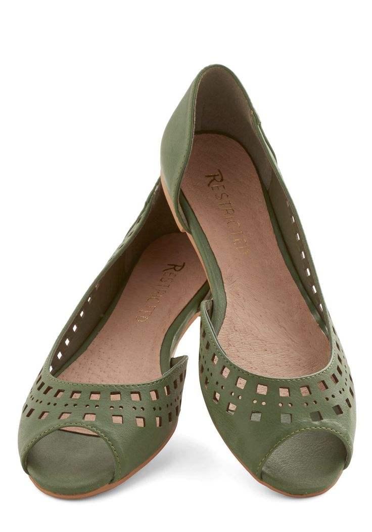 Cute Cubed Flat in Green. Increase your cuteness factor in multiple dimensions with these peep-toe ballet flats by Restricted Footwear! #green #modcloth