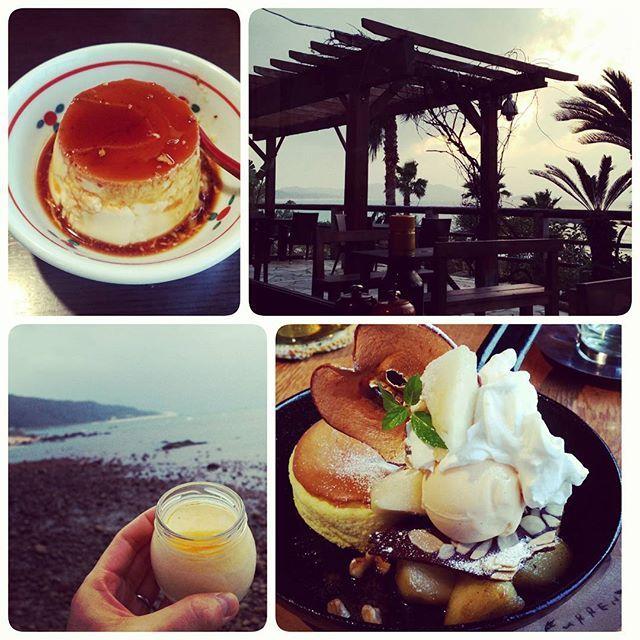 【sakii1115】さんのInstagramをピンしています。 《三十路祝いに、 プリン×2とスフレチーズケーキ🌴 #地獄蒸しプリン#塩プリン#別府#温泉#糸島#海#pudding#sweets#sea#cafe#trip#🍮》