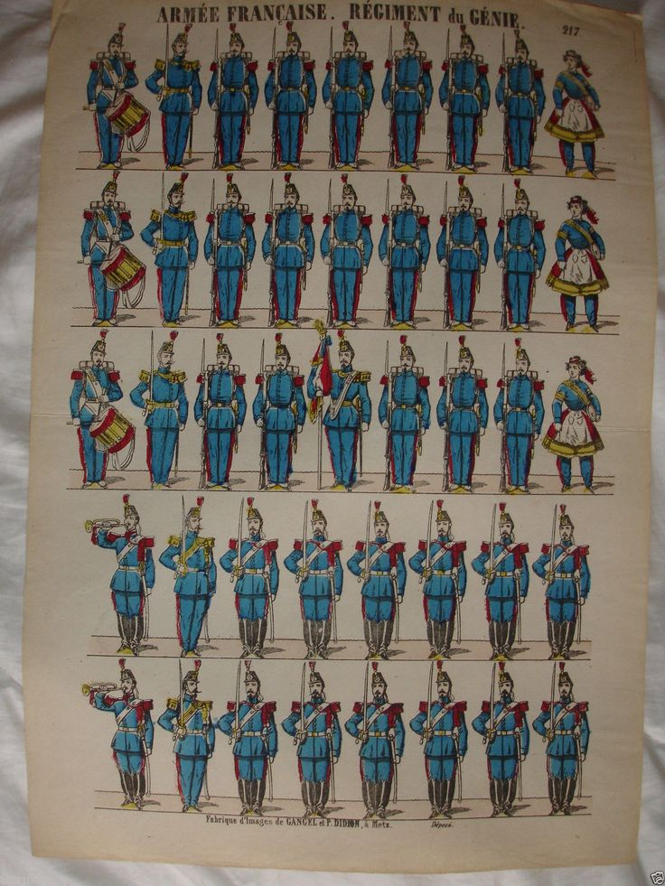 picture . French army. Engineer Regiment. N ° 217 Metz, Gangel and Didion | eBay