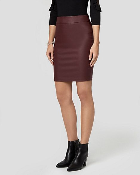Wax Coated Tech Stretch Pencil Skirt - An edgy wax coating puts a rocker-chic finish on this sleek pencil skirt.