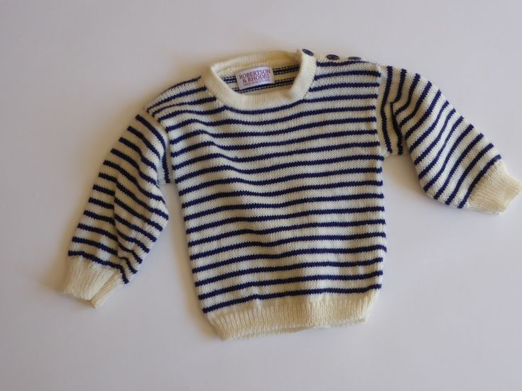 100% Merino Wool striped sweater/ jumper for babies and toddlers.  Hand crafted in Scotland. by RobertsonAndRhodes on Etsy