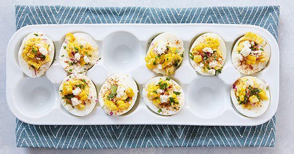 Mexican Street Corn Deviled Eggs via @PureWow