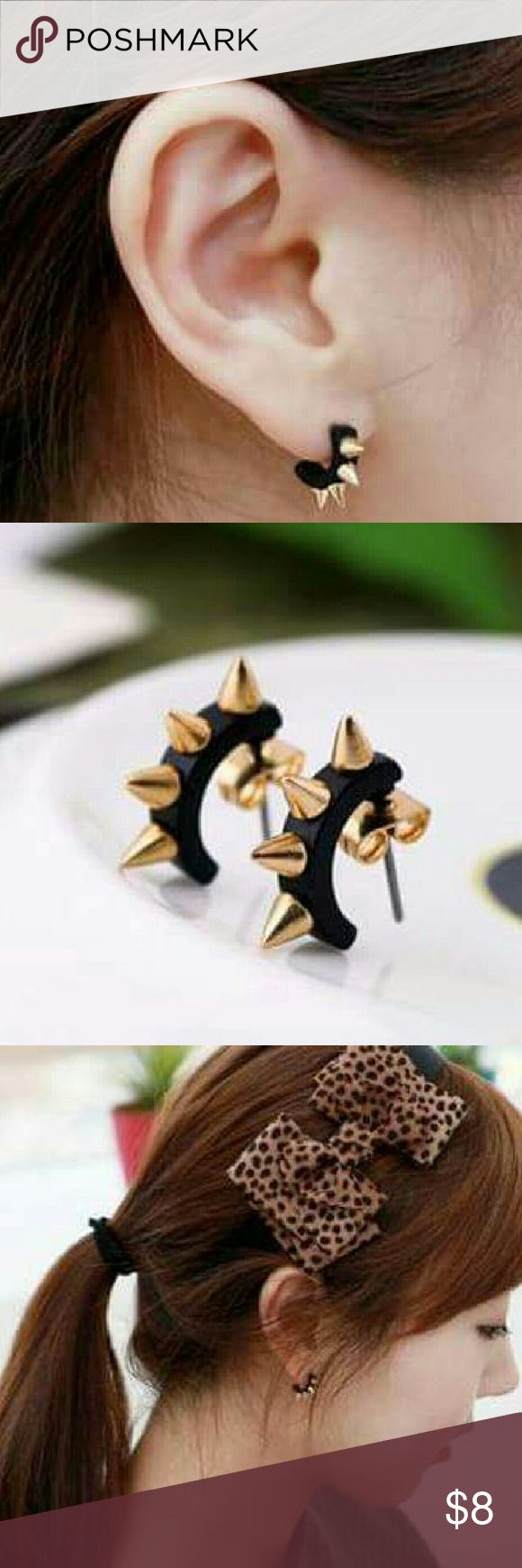 Spike Earrings New black spike earrings.  SPECIAL DEAL!. Get 3 pairs of earrings for $15!! Simply bundle 3 different pairs and offer $15 and I will accept!  Jewelry Earrings