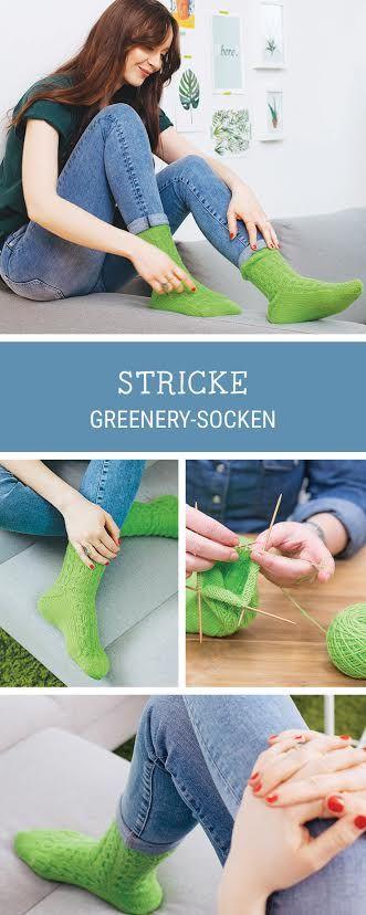 Socken in der Trendfarbe Greenery stricken, Strickanleitung von Schachenmayr Regia / diy knitting pattern for greenery socks, Pantone colour of the year via DaWanda.com