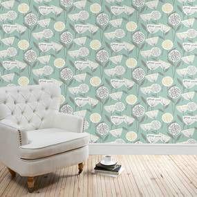 Emmott Teal Wallpaper