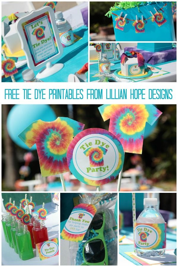 Free Tie Dye Printables from Lillian Hope Designs