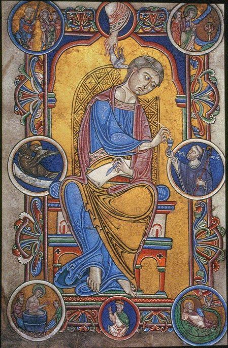 Author Portrait of John the Evangelist, Gospel Book of Abbot Wedricus, Romanesque,
