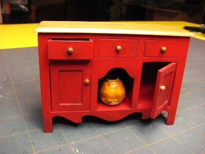 Dollhouse Miniature Furniture - Tutorials | 1 inch minis 1 INCH SCALE COUNTRY BUFFET - How to make a 1 inch scale country style buffet from mat board.