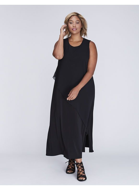 Lane Bryant, available in Plus Size. Asymmetrical chiffon adds dimension without leaving little black (maxi) dress territory. Pullover styling. Size: 22/24.  http://www.planetgoldilocks.com/womens.htm  #plusizeclothing #plussizefashions #lanebryant fashions at #planetgoldilocks
