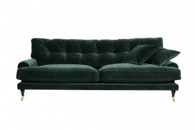 Typ en sådan soffa som finns i hur många toner. Antingen en sådan sofa eller 2 (fast 2-sitsig) sådana mitt emot varandra.