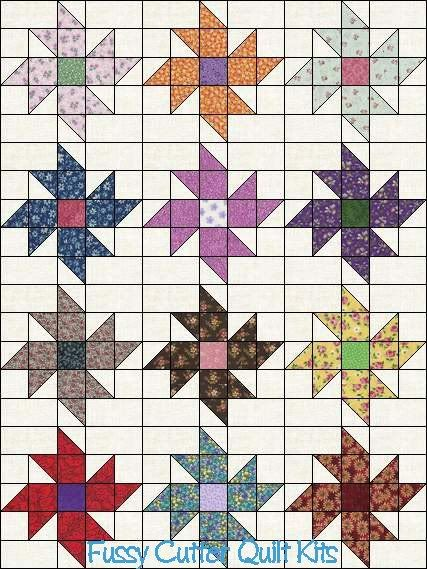 Scrappy Fabric Pinwheel Flowers Floral Easy to Make Pre-Cut Quilt Blocks Top Kit Squares