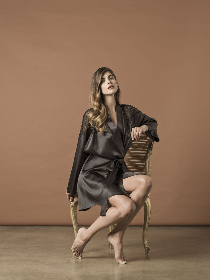 New Nui Ami Luxury Sleepwear. Venice Robe in black silk and lace. Shop online www.nuiami.com